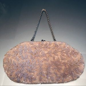 Vintage Pearl Sequined Beaded Ivory Evening Purse